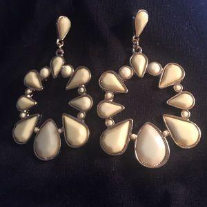 $5 Blowout!  Yellow flower dangle earrings-silver